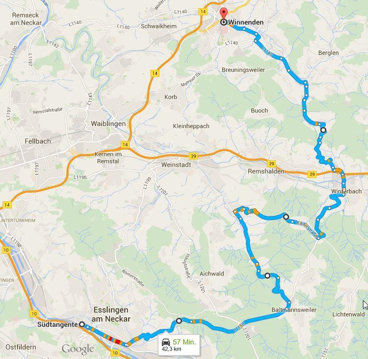 Tour Esslingen nach Winnenden GoogleMaps